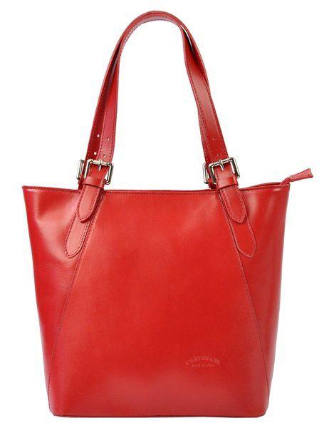 Veľká červená kožená dámska kabelka cez rameno L Artigiano