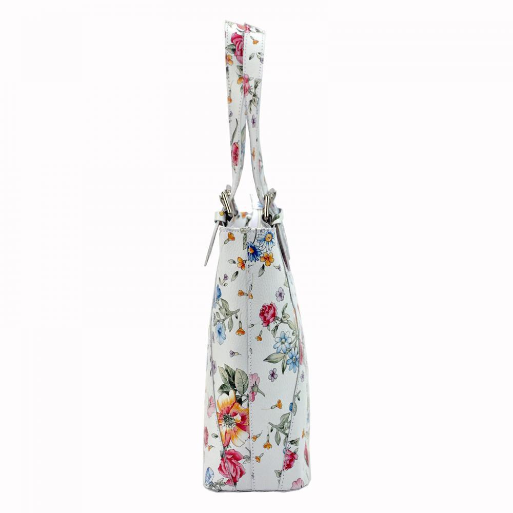 Velká bílá kožená dámská kabelka přes rameno v květovaném motivu L Artigiano