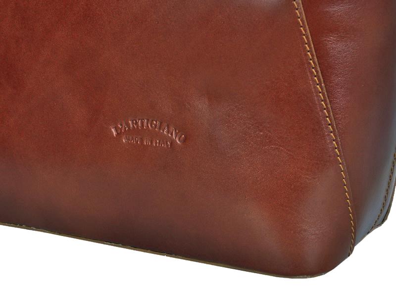 Veľká hnedá kožená dámska kabelka cez rameno L Artigiano