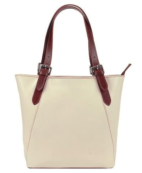 Velká krémová kožená dámská kabelka s hnědými uchy L Artigiano
