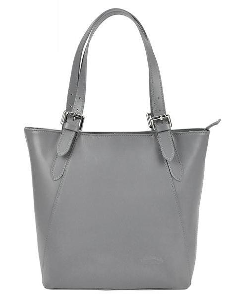 Velká šedá kožená dámská kabelka přes rameno L Artigiano