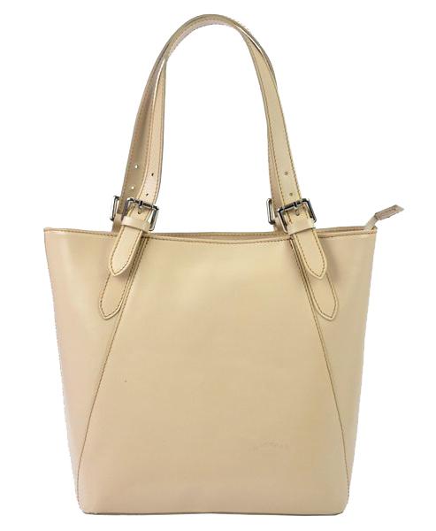Velká béžová kožená dámská kabelka přes rameno L Artigiano