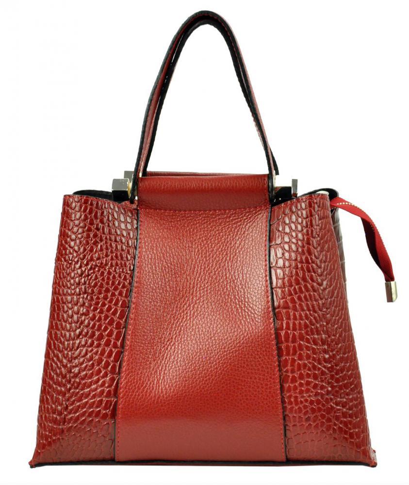 Kožená červená kroko dámska kabelka do ruky Luka