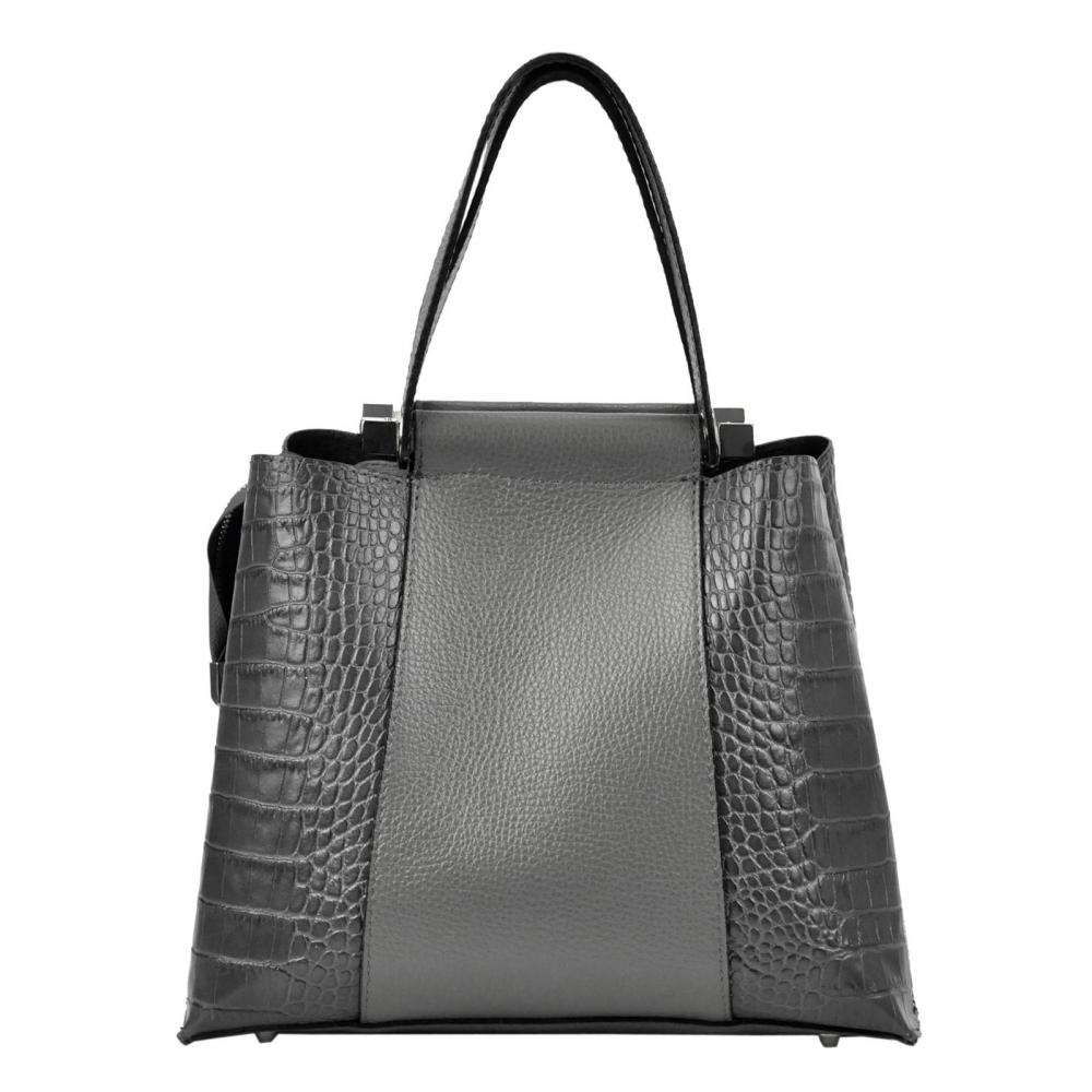 Kožená černá kroko dámská kabelka do ruky Luka