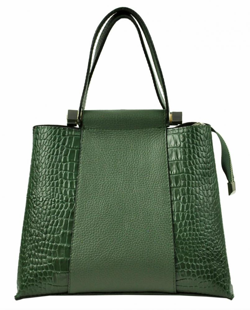 Kožená zelená kroko dámska kabelka do ruky Luka