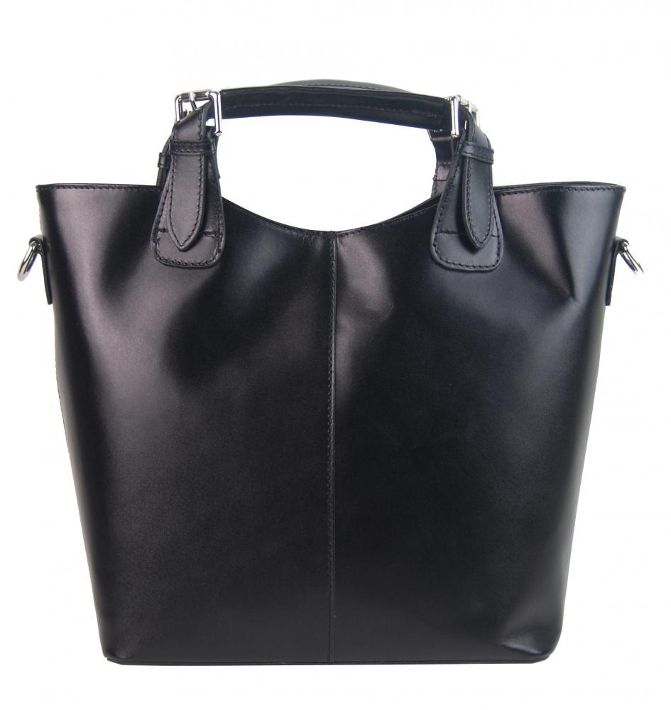 Veľká kožená dámska shopper kabelka čierna