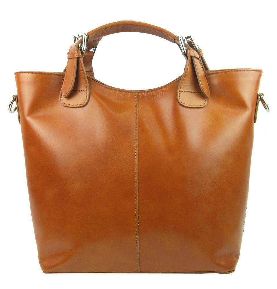 Veľká kožená dámska shopper kabelka koňaková hnedá