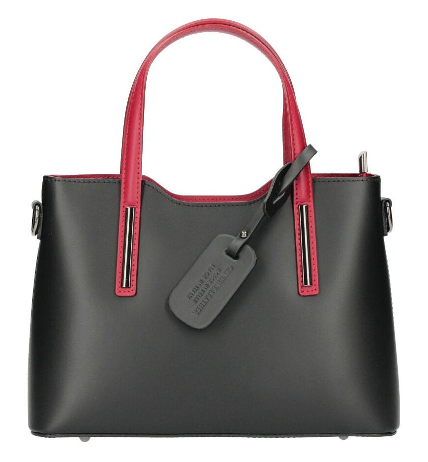 Kožená černá dámská kabelka s červenými ramínky do ruky Maila