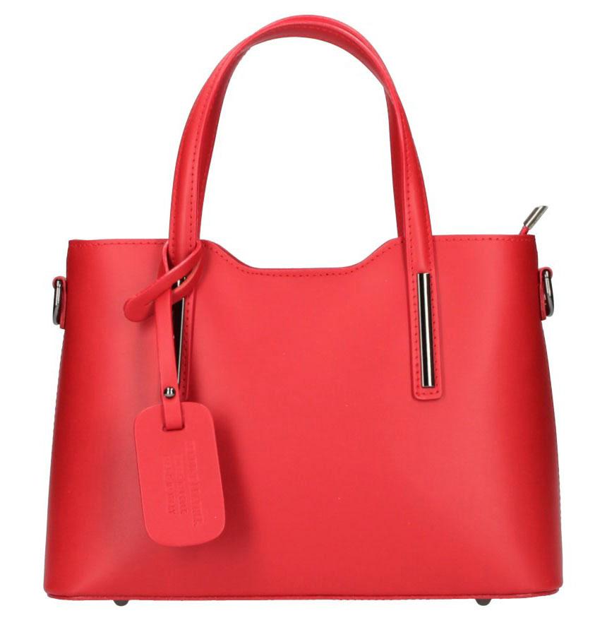 Kožená červená dámská kabelka do ruky Maila