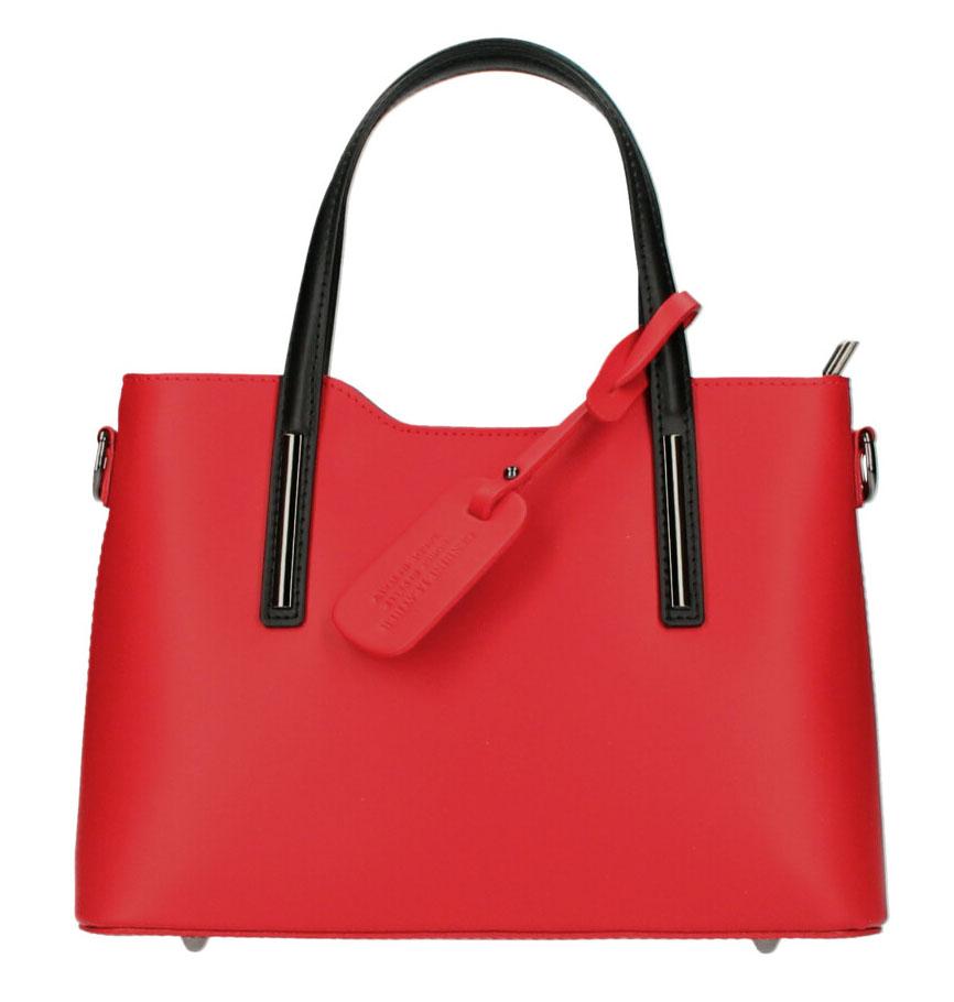 Kožená červená dámská kabelka s černými ramínky do ruky Maila