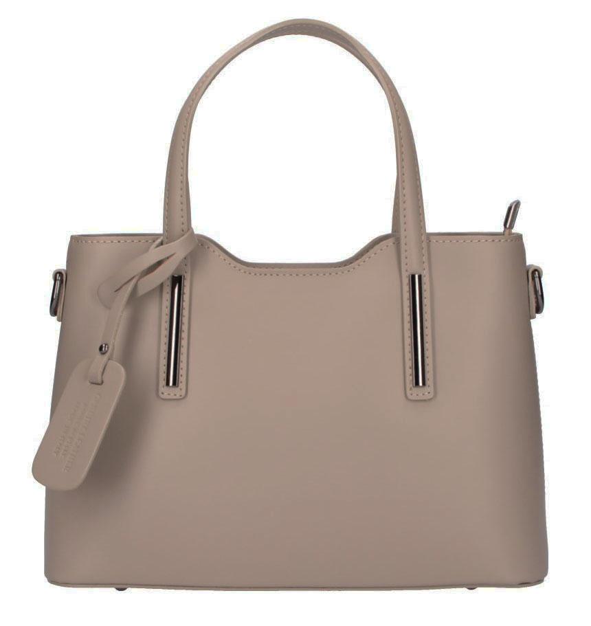 Kožená šedohnědá dámská kabelka do ruky Maila