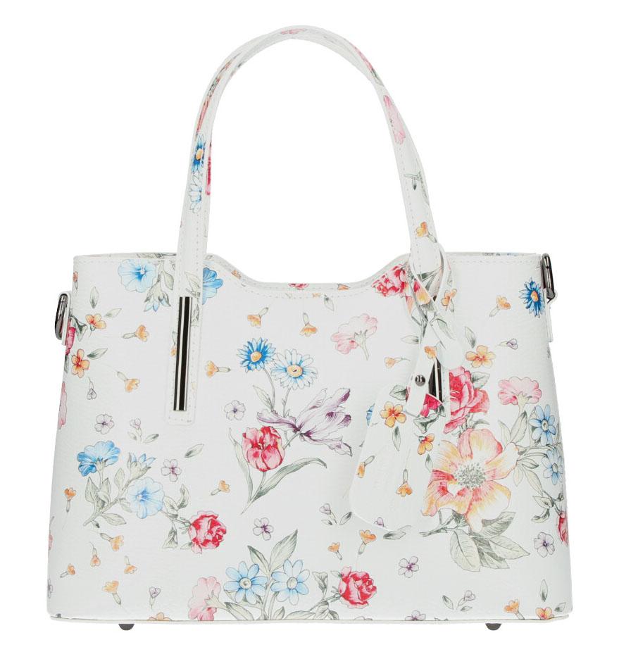 Kožená biela dámska kabelka do ruky v motíve kvetov Maila