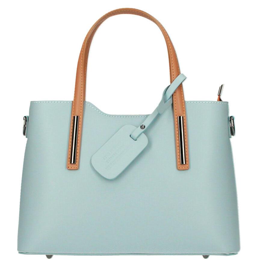 Kožená světle modrá dámská kabelka s koňakovými ramínky do ruky Maila