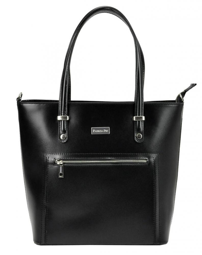 Kožená veľká čierna dámska kabelka Patrizia Piu