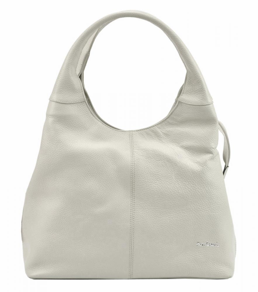 Pierre Cardin Kožená velká dámská kabelka přes rameno béžová
