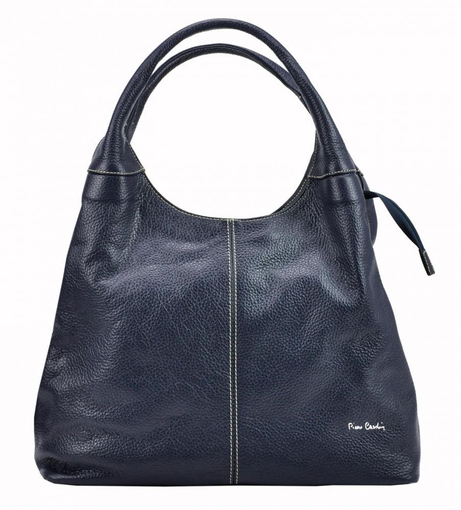 Pierre Cardin Kožená veľká dámska kabelka cez rameno tmavo modrá