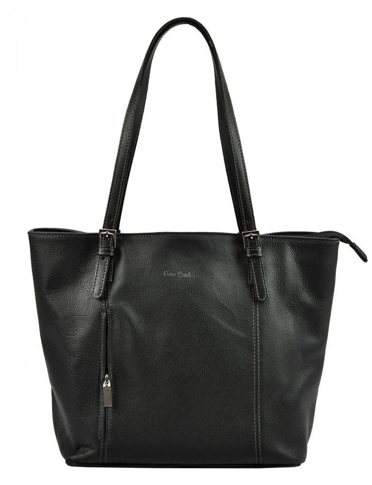 Pierre Cardin Kožená velká dámská kabelka přes rameno černá