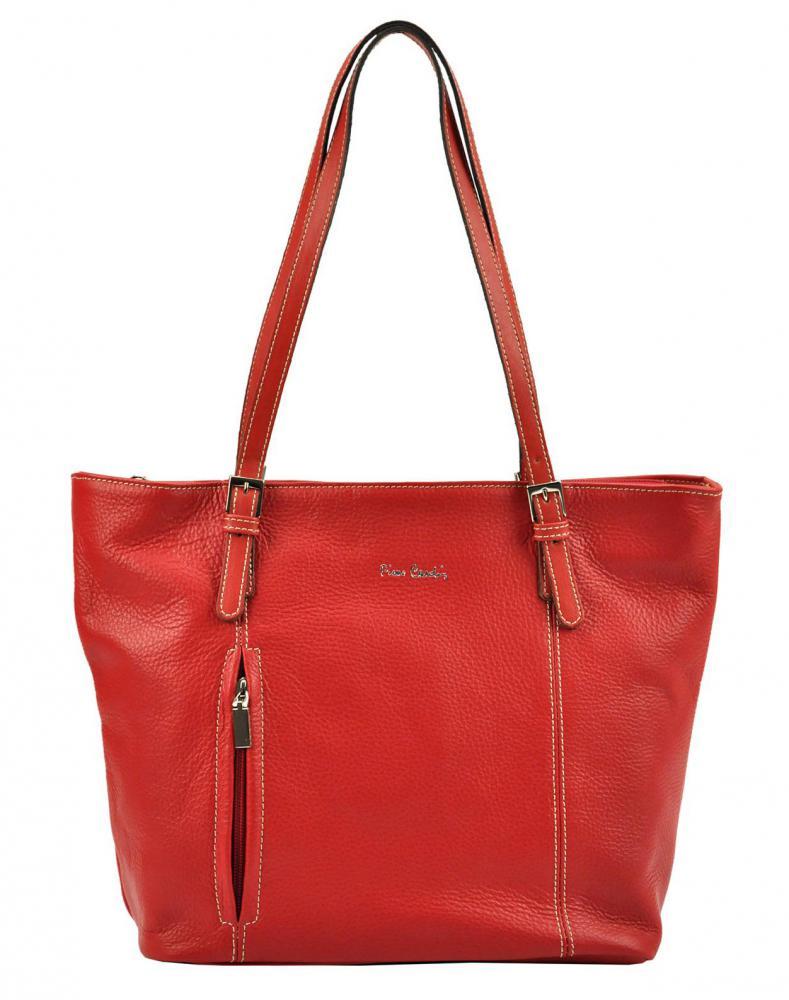 Pierre Cardin Kožená velká dámská kabelka přes rameno červená