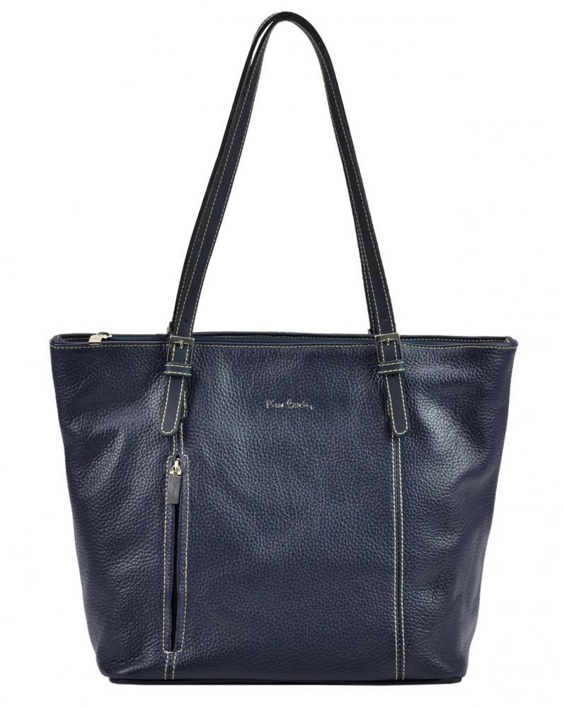 Pierre Cardin Kožená veľká dámska kabelka cez rameno modrá