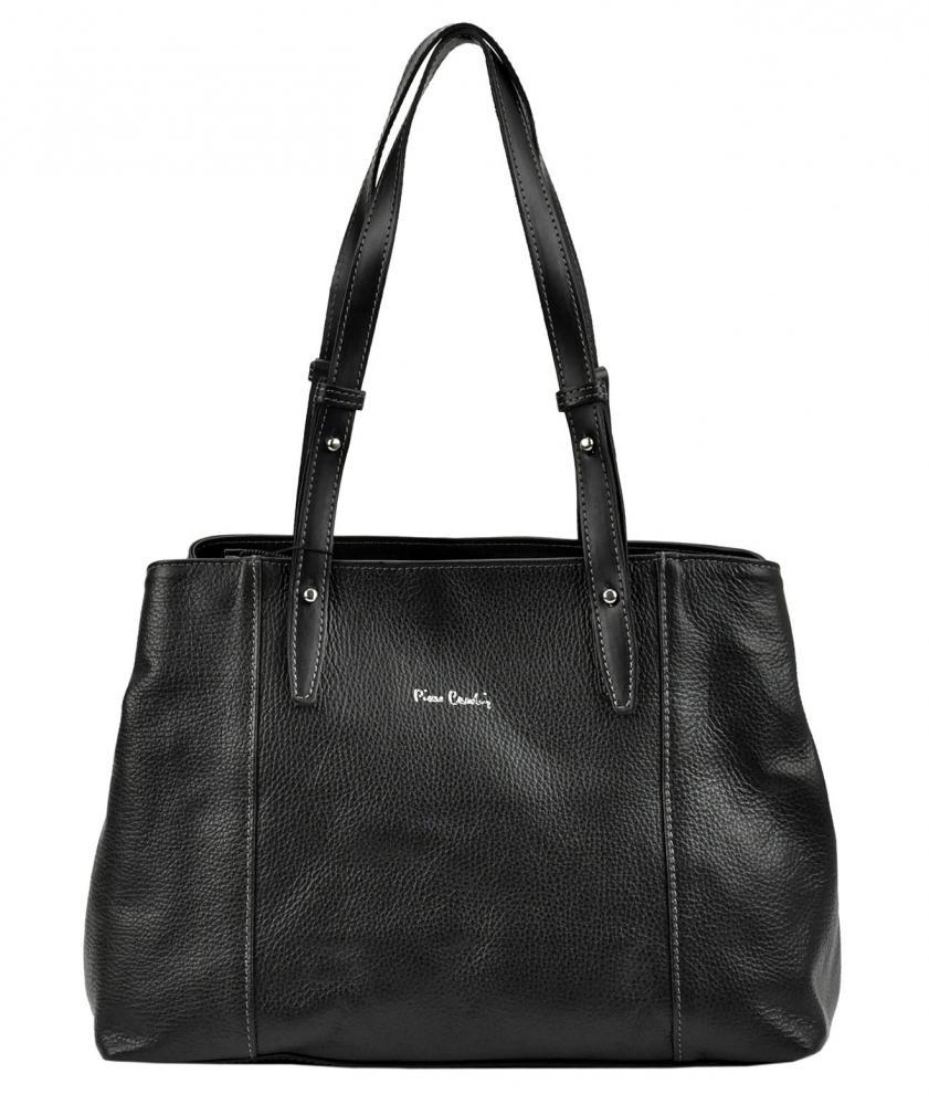 Pierre Cardin Kožená dámská kabelka přes rameno černá