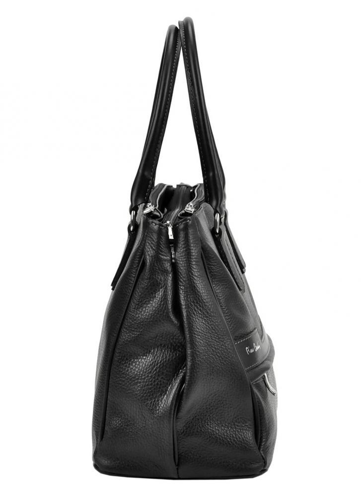 Pierre Cardin Kožená väčšia dámska kabelka čierna