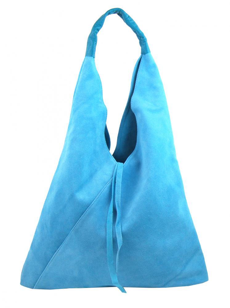 Kožená velká dámská kabelka Alma světle modrá