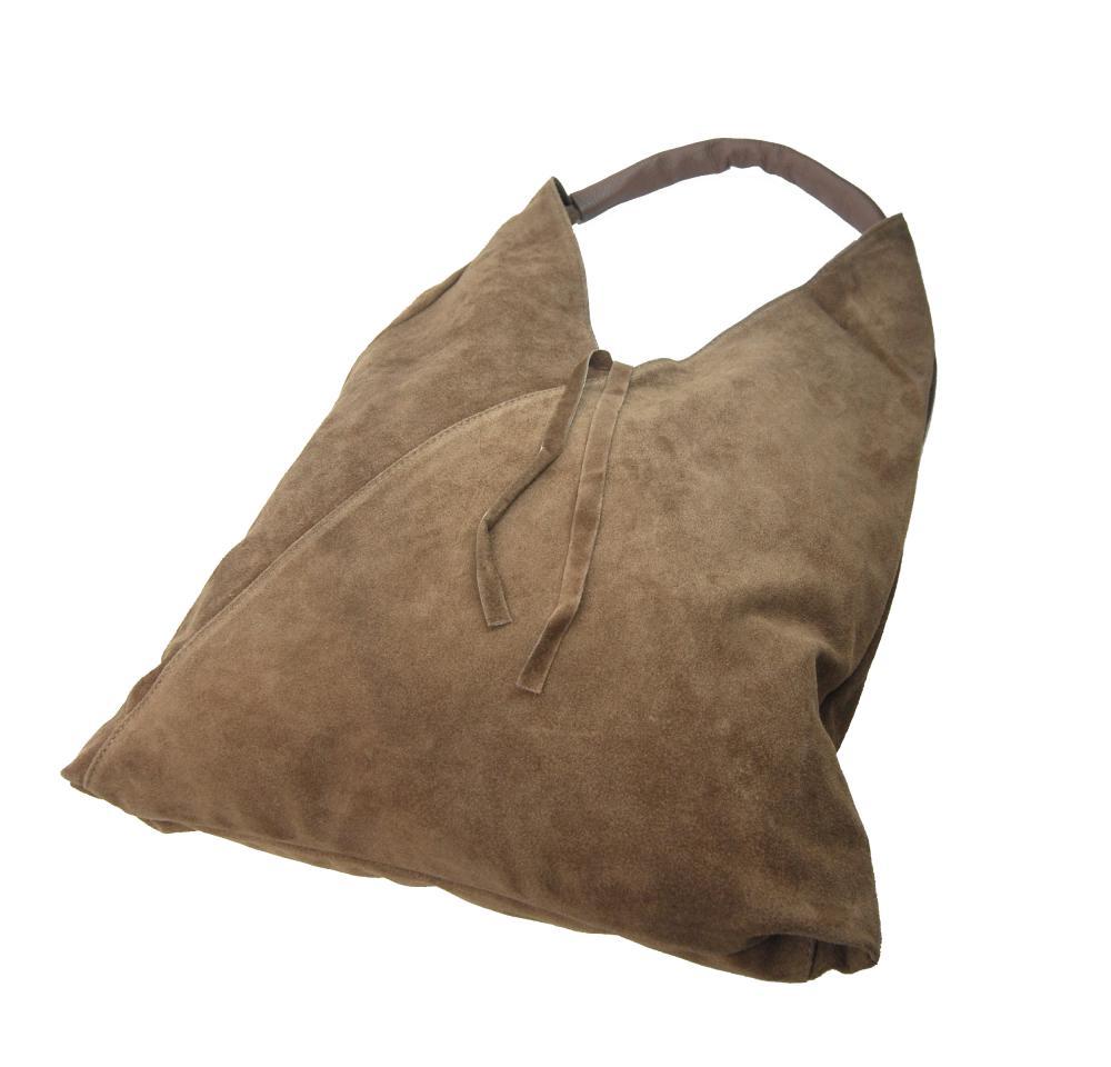 Kožená veľká dámska kabelka cez plece Alma kapučínová