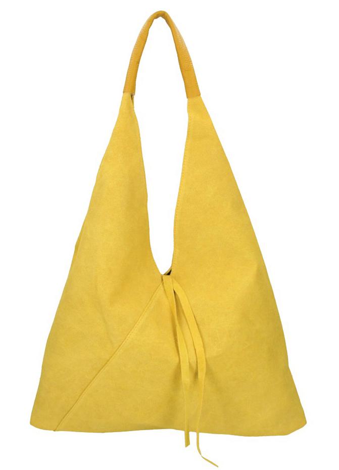 BORSA IN PELLE Kožená žlutá dámská kabelka Alma