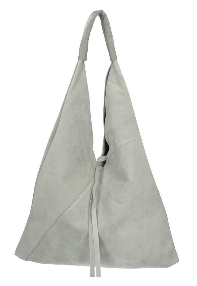 BORSA IN PELLE Kožená velká dámská kabelka Alma světle šedá
