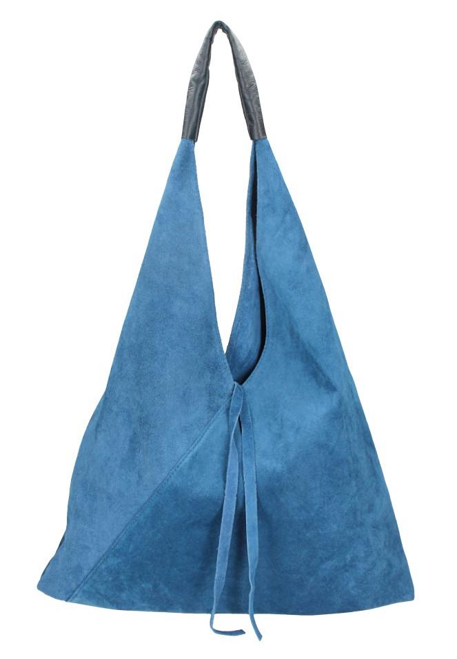 BORSA IN PELLE Kožená džínová modrá dámská kabelka Alma