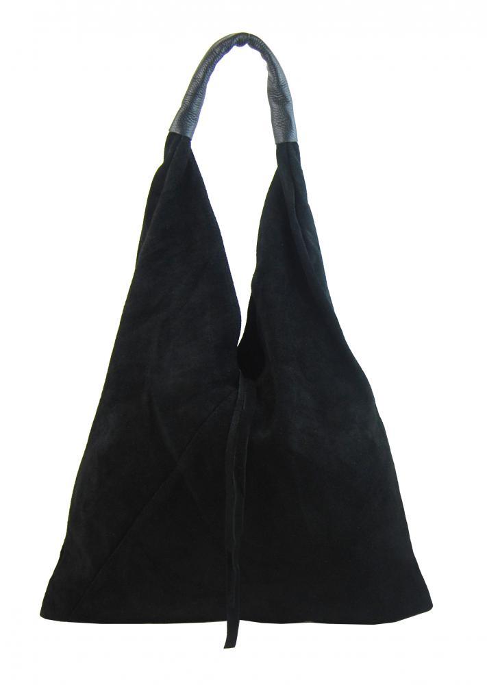 BORSA IN PELLE Kožená velká dámská kabelka Alma černá