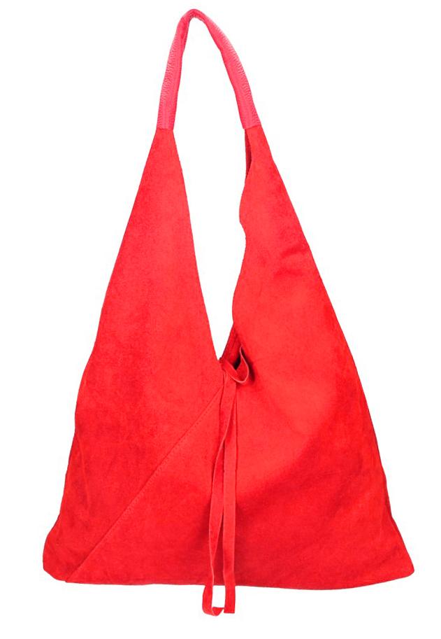 Kožená veľká dámska kabelka Alma červená