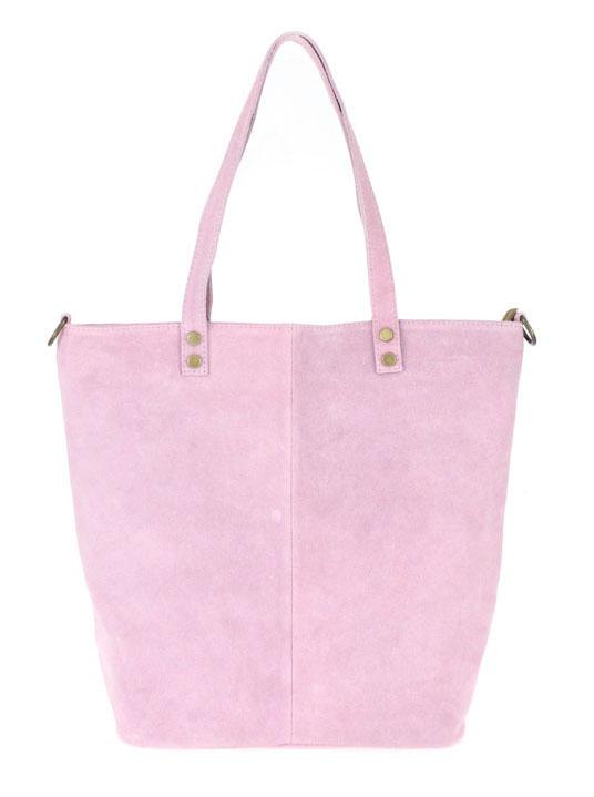 Kožená velká růžová broušená praktická dámská kabelka