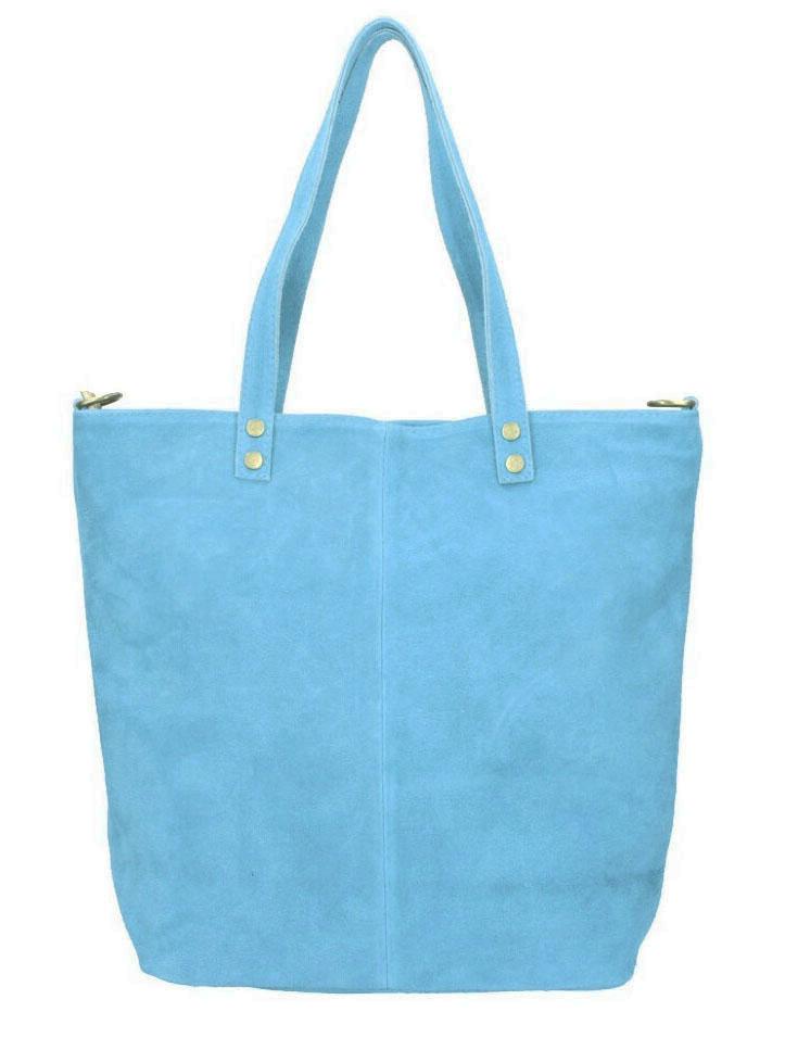 Kožená velká světle modrá broušená praktická dámská kabelka