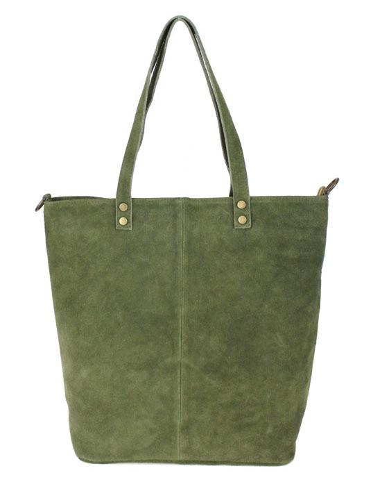 Kožená veľká khaki zelená brúsená praktická dámska kabelka