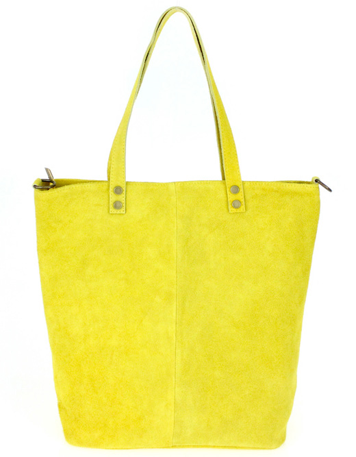 Kožená veľká žltá brúsená praktická dámska kabelka