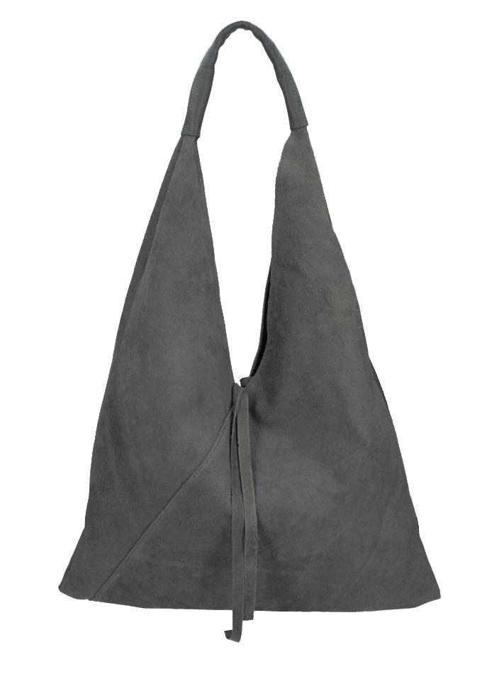 BORSA IN PELLE Kožená velká dámská kabelka Alma tmavě šedá