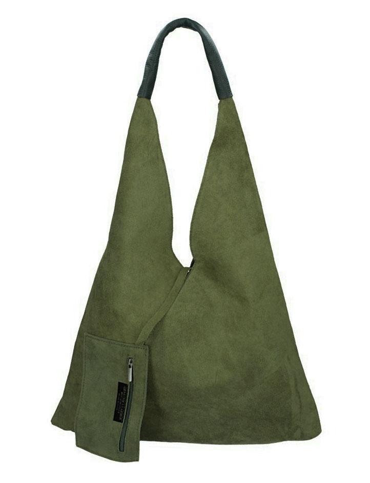 BORSA IN PELLE Kožená velká dámská kabelka Alma khaki zelená