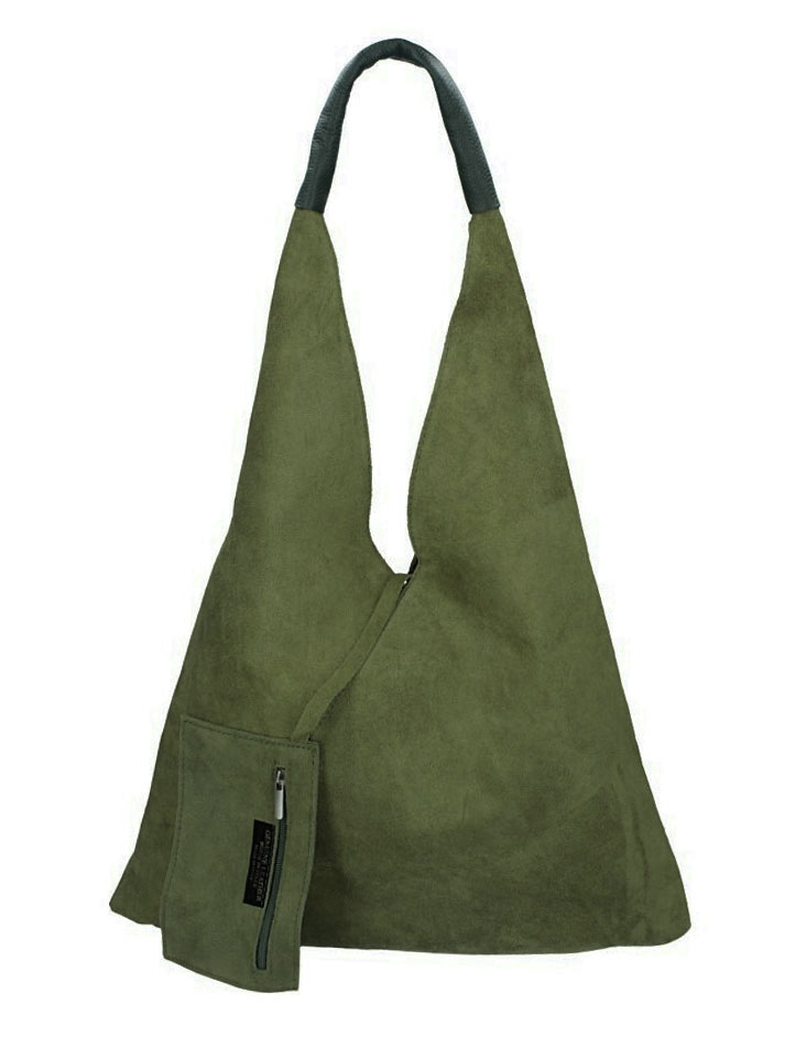 Kožená veľká dámska kabelka Alma khaki zelená