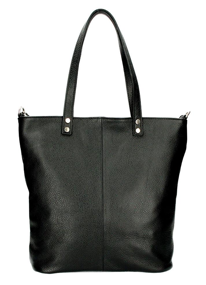 Kožená veľká dámska shopper kabelka Juliette čierna
