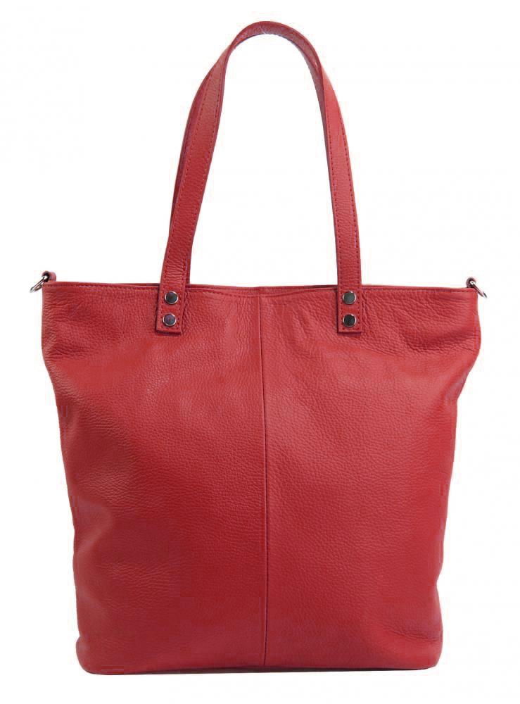Kožená veľká dámska shopper kabelka Juliette červená