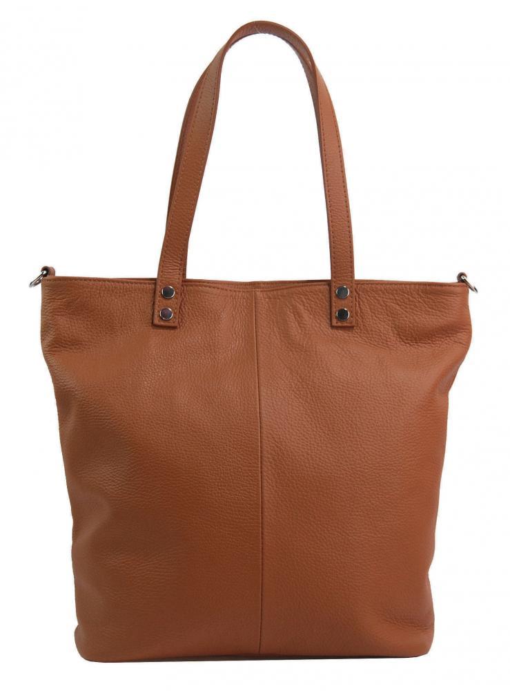Kožená veľká dámska shopper kabelka Juliette hnedá