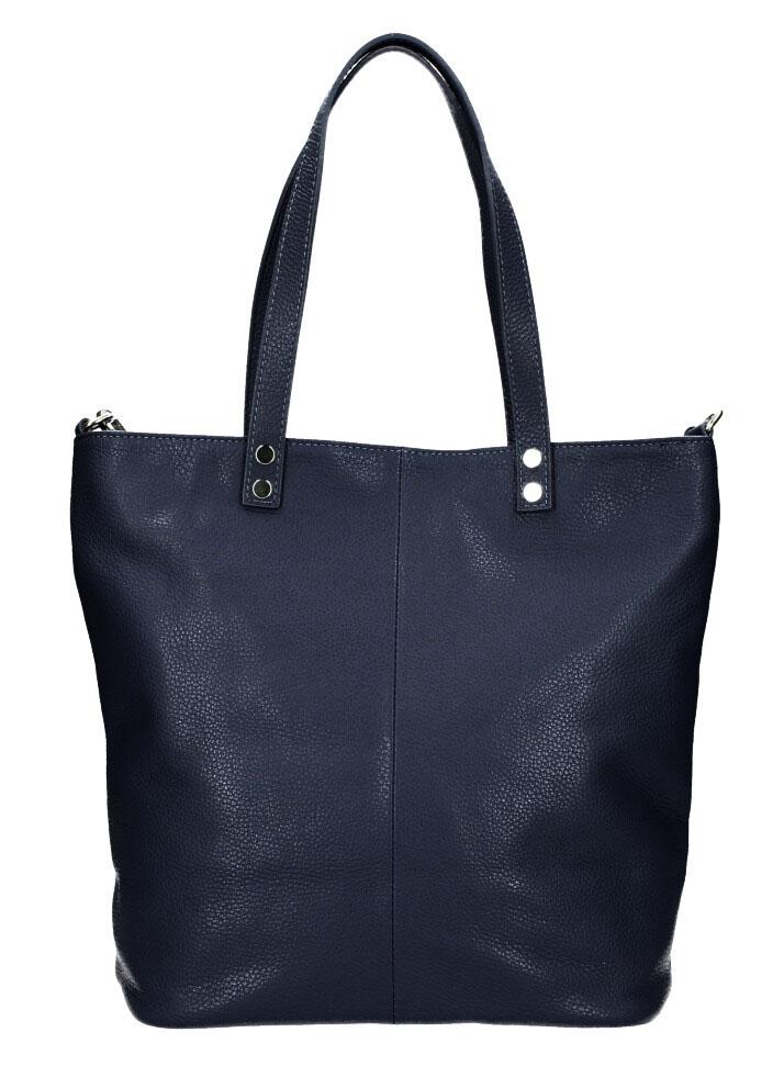 Kožená veľká dámska shopper kabelka Juliette tmavo modrá