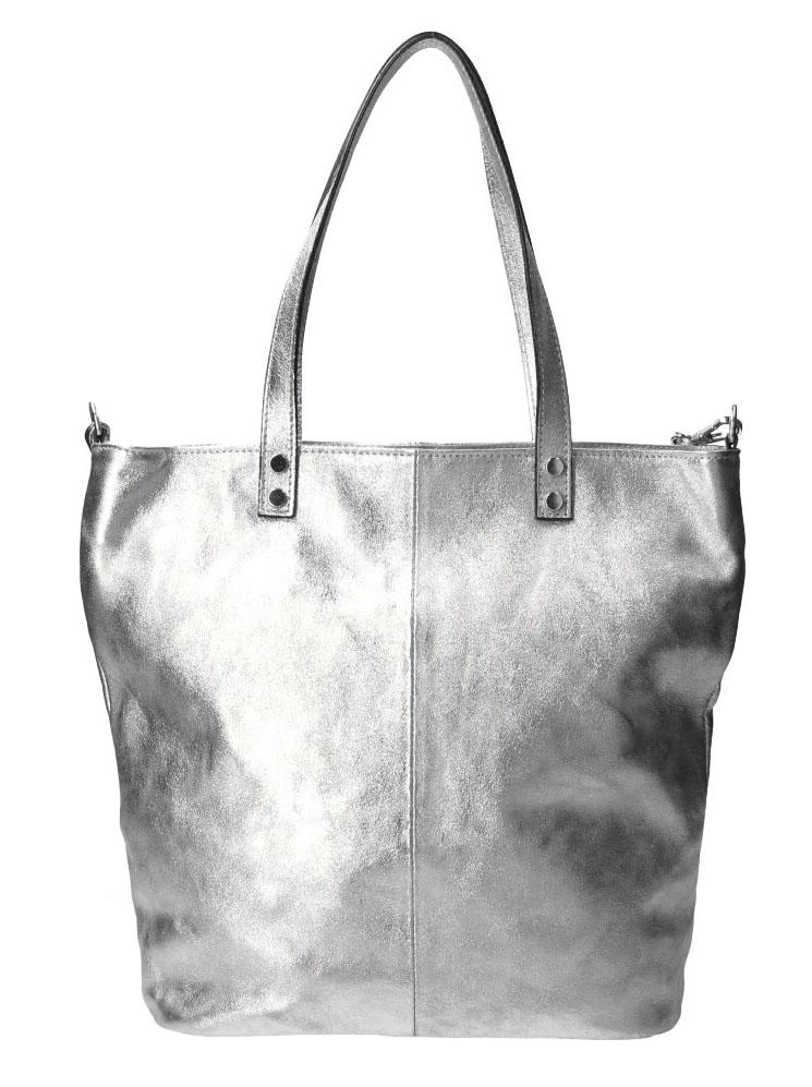 PELLE Kožená velká dámská shopper kabelka Juliette stříbrná