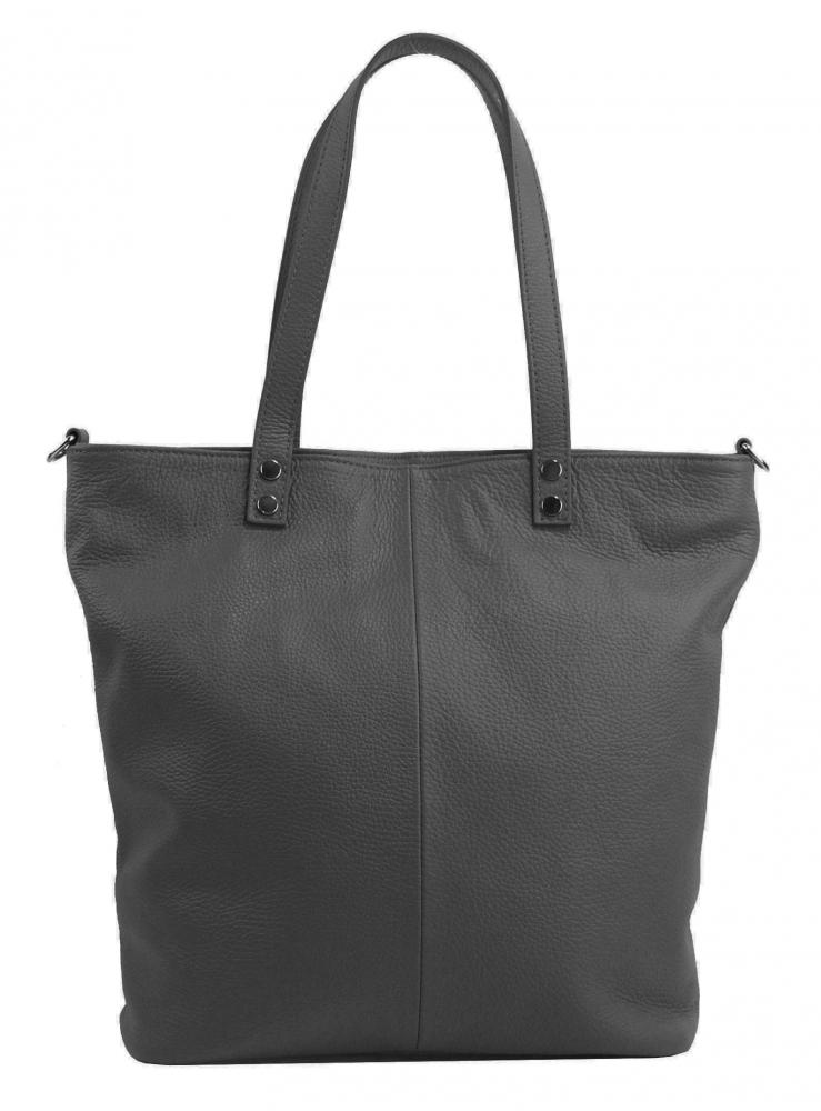 Kožená veľká dámska shopper kabelka Juliette tmavo sivá