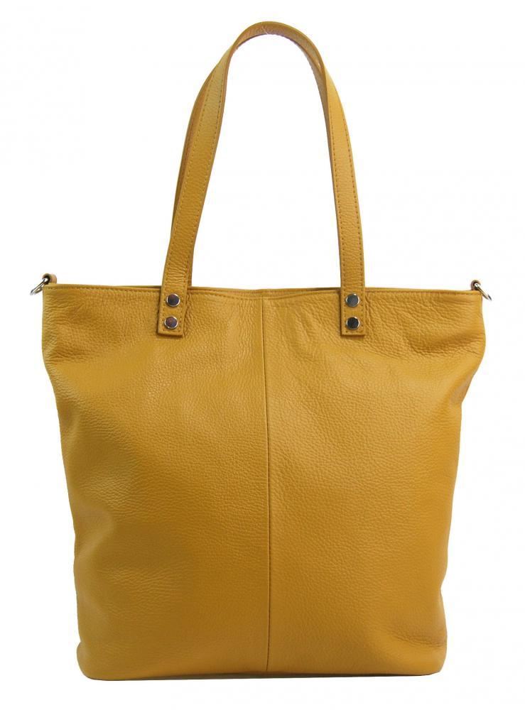 PELLE Kožená velká dámská shopper kabelka Juliette hořčicová žlutá
