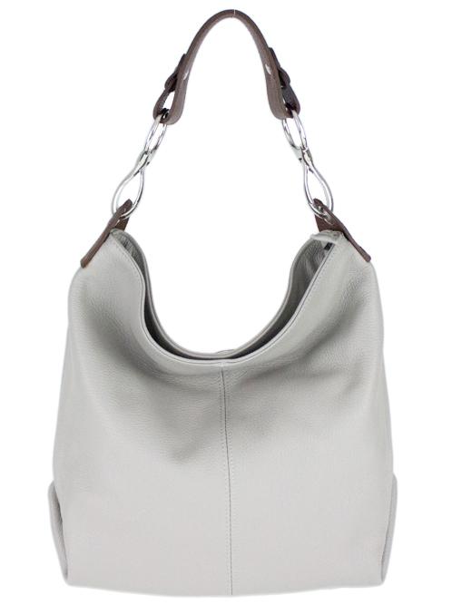 Kožená dámska kabelka Shaila svetlo sivá