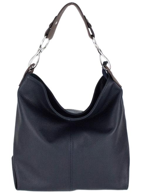 Kožená dámska kabelka Shaila tmavá modrá