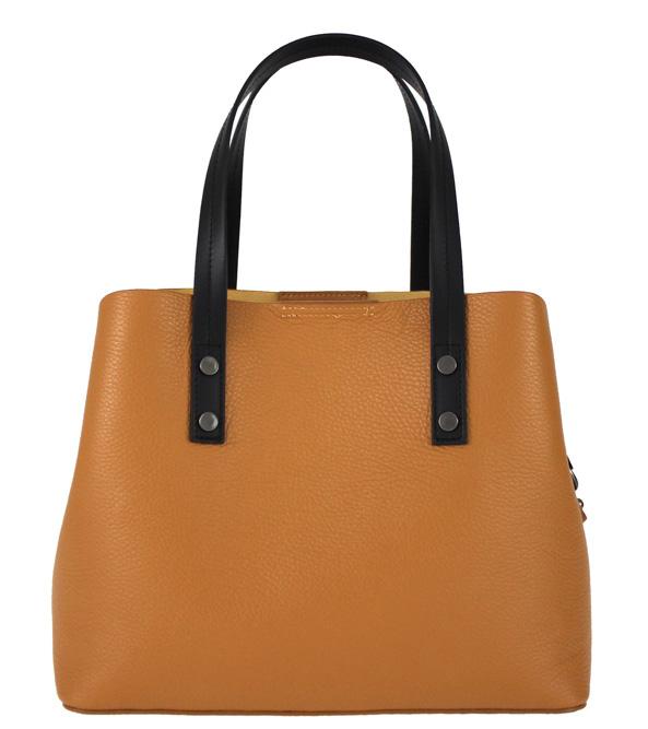 Kožená koňakovo hnedá dámska kabelka do ruky Florencia