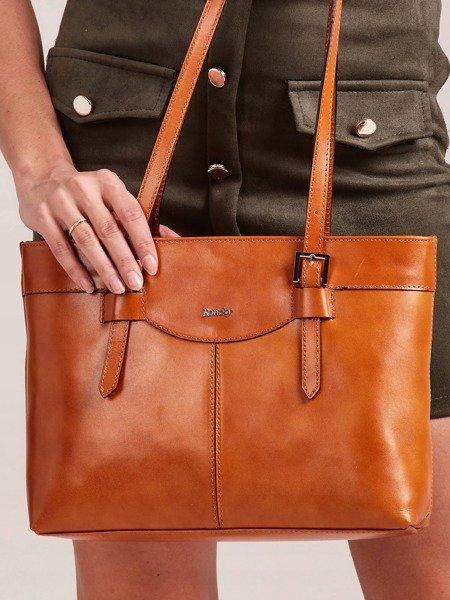 Kožená dámska kabelka cez rameno koňakovo hnedá